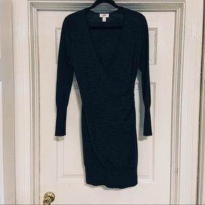 Ann Taylor wrap sweater dress grey